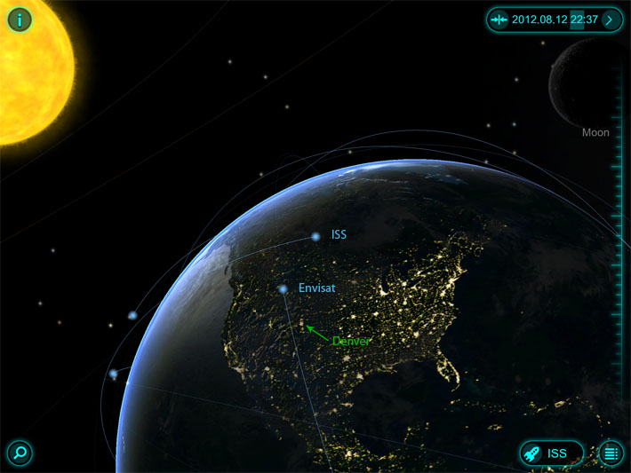 SolarWalk app screenshot, ISS 8/12/12 2238 hrs MDT