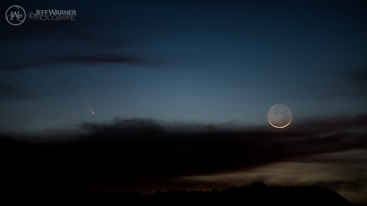 Comet Pan-Starrs and Crescent Moon, 3/12/13.