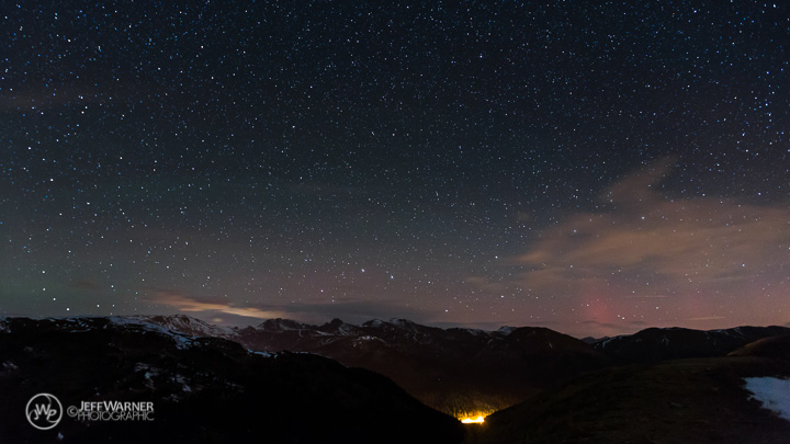Aurora Borealis and the Vasquez Range, from Loveland Pass, CO.