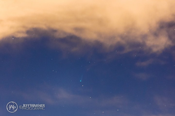 Comet ISON beneath a cloud over Golden, CO, 11/16/13.