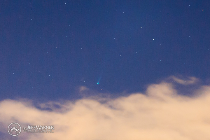Comet ISON emerges from a cloud over Golden, CO, 11/16/13.