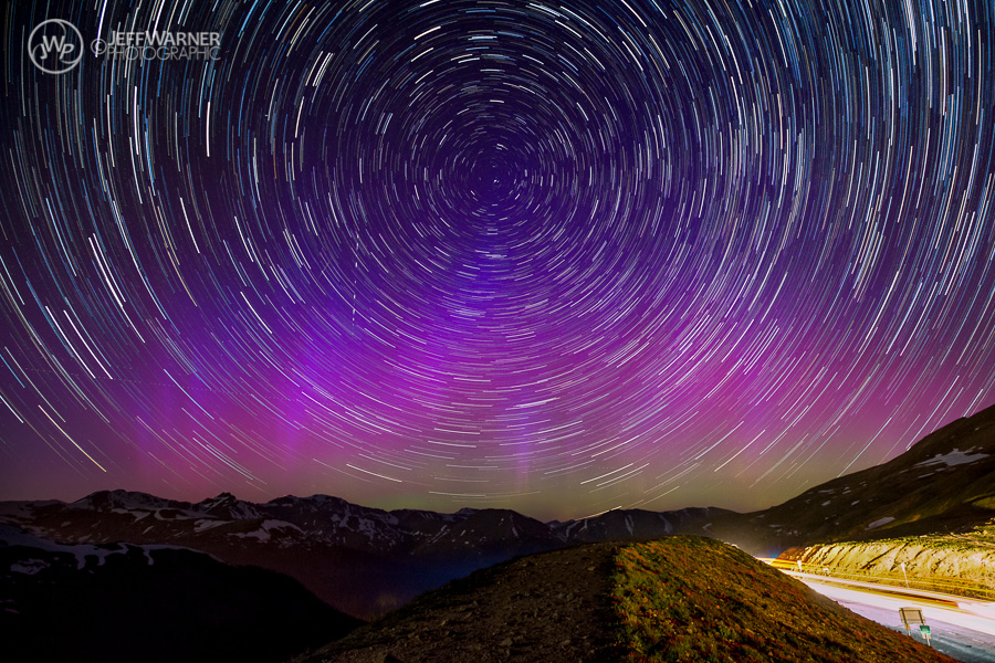Star trails and Aorora Borealis, Loveland Pass, CO (6/22/15)