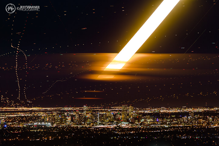 Super Moon rises over Denver, with air traffic